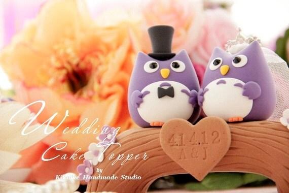 Owls with wood bridge Wedding Cake Topper---k532