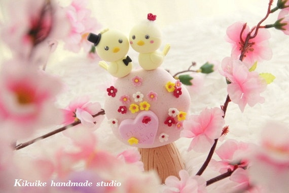 birds Wedding Cake Topper-love bird with flower tree (K363)