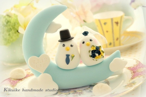 love birds  Wedding Cake Topper-love birds  with Moon