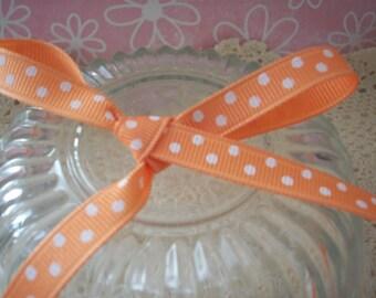 Apricot Polka Dot Grosgrain Ribbon