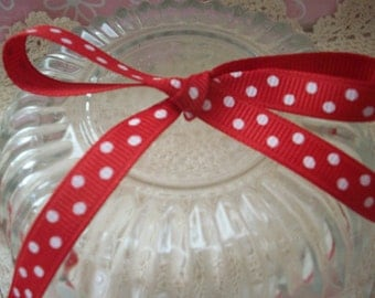 Red Polka Dot Grosgrain Ribbon