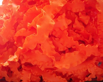 Autumn Orange Double Ruffle Ribbon