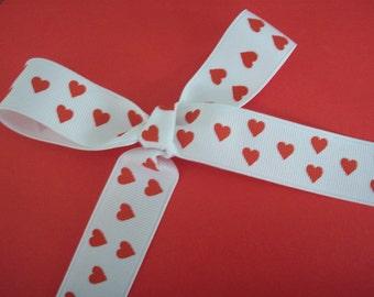 White Grosgrain Red Hearts