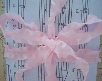 Pretty Light  Pink Double Ruffled Ribbon 5/8 inches wide 5  yards .