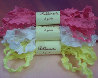 Double Ruffled Ribbon- 3 Colors- 2 Yards Each-Pretty Hair Bows- Hot Pink-White-Yellow