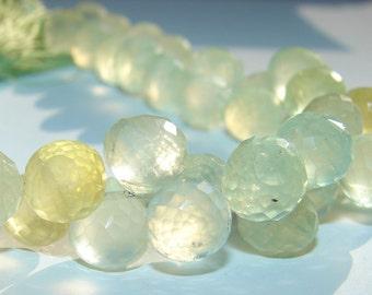 SALE, Softly Glowing, 8 mm Pale Celery Golden Green PREHNITE Onion Cut Briolette Beads, Mini Parcel of 3 Beads