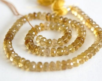 Sparkly Beer Quartz Rondelles, Unusual and Different, 6mm Size, Parcel of 10 Beads