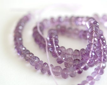Exquisite Pink Amethyst Faceted Rondelles, 5-6mm, Parcel of 8 Beads