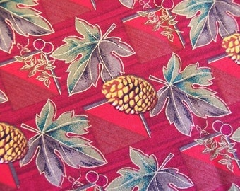 Fat Quarter Fall colored fabric in reds, cranberry, gold, brown and greens
