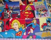 Girl Power Wonder Woman Super Girl Batgirl Comic Book Fabric 1 Yard  Rare and OOP