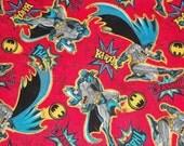 Batman on Red Fabric By The Yard FBTY