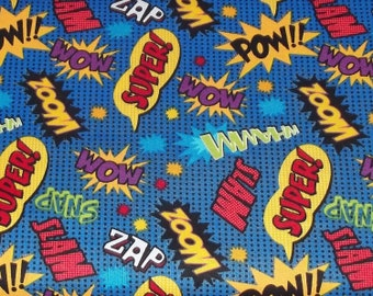 Super Hero Action Words Fabric Remnant 18""