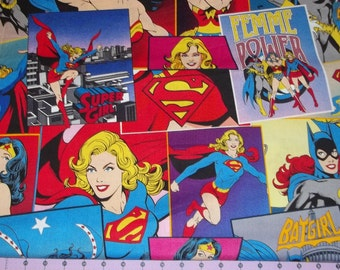 Girl Power Wonder Woman Super Girl Batgirl Comic Book Fabric 1 Yard  Rare and OOP