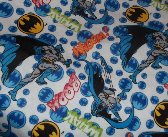 Batman on white flannel fabric by the yard fbty for Children s flannel fabric by the yard