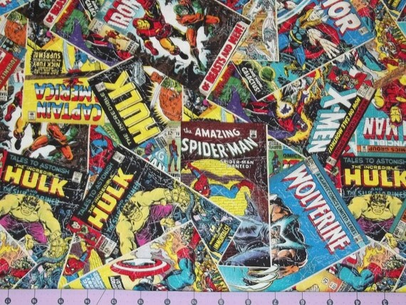 Comic Book Cover Material : Marvel comic book covers fabric yard from