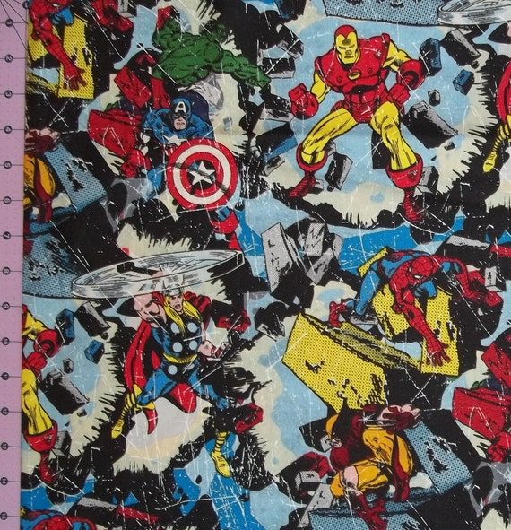 Items Similar To Marvel Comic Action Hero Fabric By The