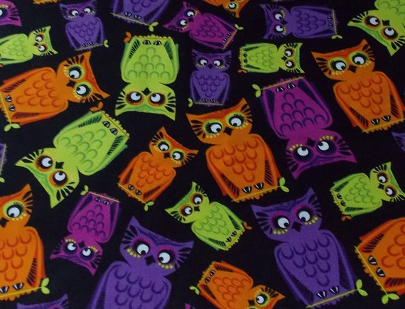 Neon Owls on Black Halloween Fabric By The Yard