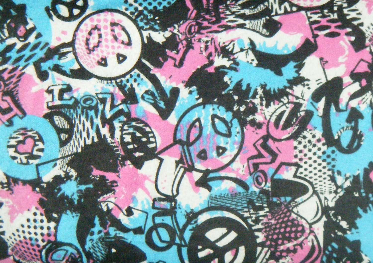 Reserved Listing For Groovy Graffiti Flannel Fabric 2 Yards