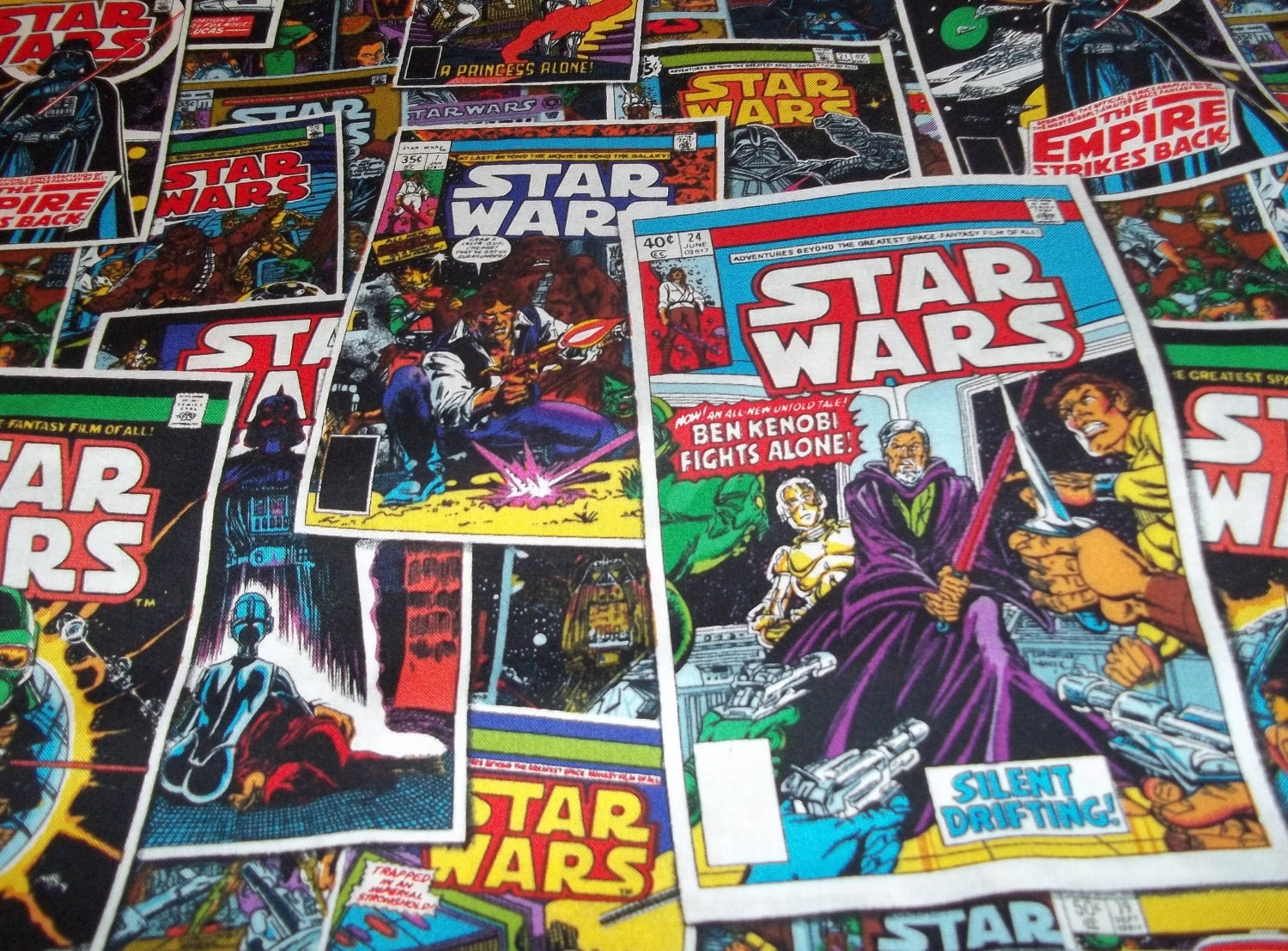 Star wars comic book fabric by the yard fbty for Star wars fabric
