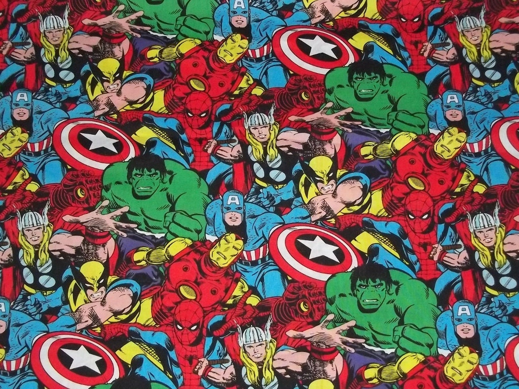 Marvel Comic Superhero Fabric By The Yard Fbty