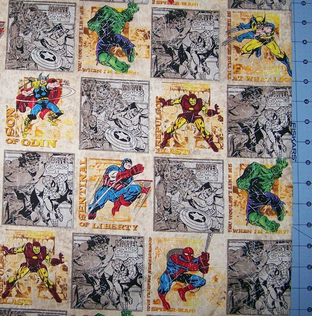 Marvel Comic Block Fabric By The Yard Fbty