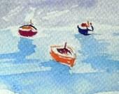 original watercolor painting ACEO ship  sea boat