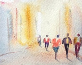 original watercolor painting ACEO walking figures evening