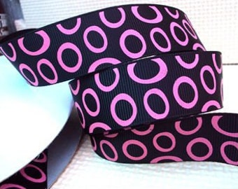5 yards 5/8 inch Grosgrain.......Black with Hot Pink Circles