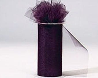 6 inch by 75 ft Nylon Tulle - EGGPLANT   (only 2.25 per roll)
