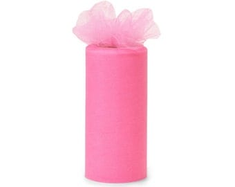 6 inch by 75 ft Nylon Tulle - PARIS PINK   (only 2.25 per roll)