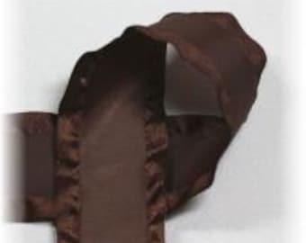 7/8 inch x 3 yds Double Ruffle ribbon - Brown