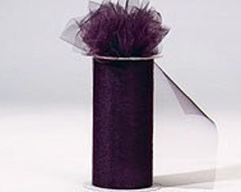 "6 inch x 100 yds ""Import"" Nylon Tulle Roll - PLUM-Fall Special only 5.99 roll"