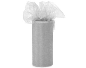 "6 inch x 100 yds ""Import"" Nylon Tulle Roll - SILVER-Fall Special only 5.99 roll"