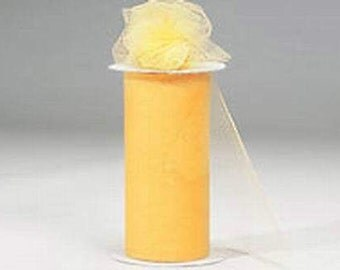 "6 inch x 300 foot ""Import"" Nylon Tulle Roll -YELLOW(Goldenrod)"
