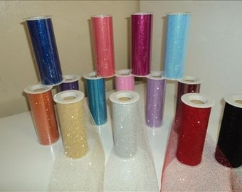 6 inch by 10 yard Glitter Tulle -  WHITE