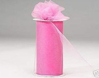 6 inch x 75 ft NYLON TULLE  PINK   (only 2.25 per roll)