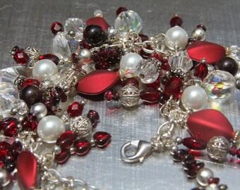 Handmade Charm Bracelet,  Made to Order Bracelet, Costume Jewelry, Fashion jewelry, Red Bracelet, One of a kind, Custom Bracelet,