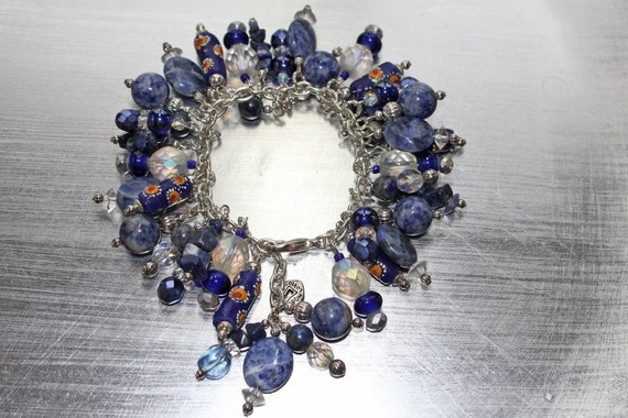 REDUCED Royal Blue African Krobo Bead Charm Bracelet WAS 45 NOW 38.25