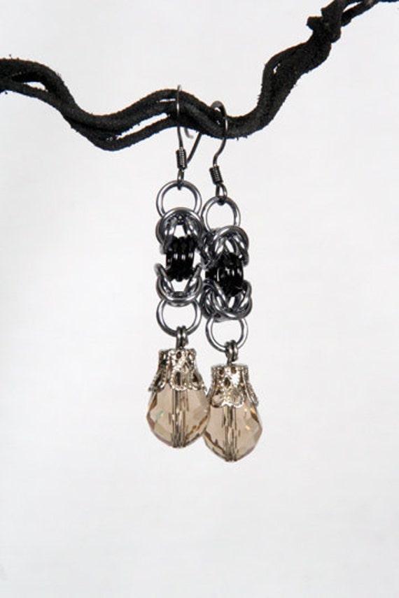 Sleek and Sexy Monochromatic Byzantine Earrings