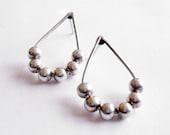 sterling silver beaded earrings teardrop earings post earrings earings