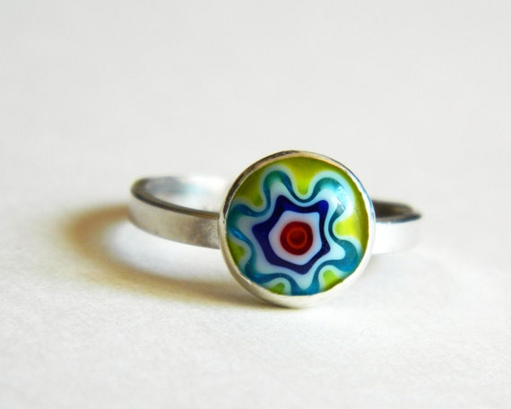 yellow ring millefiori ring sterling silver stacker yellow blue red