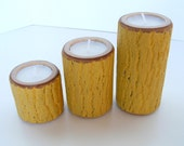 Rustic Candle Set 3 Tier Graduated Sizes Painted Yellow Autumn Centerpiece