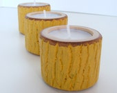 3 Rustic Candles Small Autumn Yellow Fall Decor
