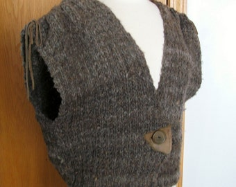 Wool Knit Vest with Leather Trim