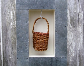 Wire Miniature Basket in Shadow Box