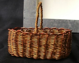 Miniature Basket of Wire in Shadow Box