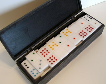 Handmade Dominoes of White Acrylic -- Double 9 in Wooden Box