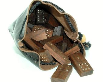 Handmade Dominoes of Black Walnut Wood Double 9 in Leather Bag