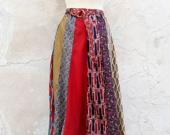 Silk Skirt Mid Length of 100% Silk Neckties Handmade by The Bent Tree Gallery