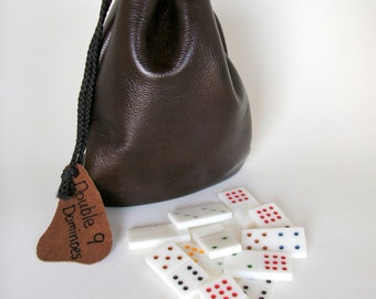 Handmade Dominoes of White Acrylic -- Double 9 in Leather Bag -- Sale -- Now 50.00, marked down from 70.00
